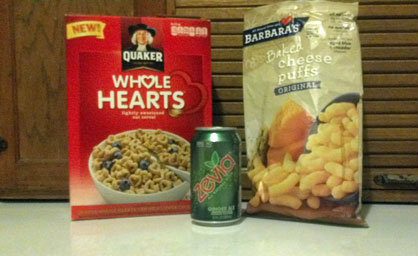 ftzevia Put It In Your Food Trap! Zevia Natural Soda, Barbaras Baked Cheese Puffs, and Quaker Hearts Cereal
