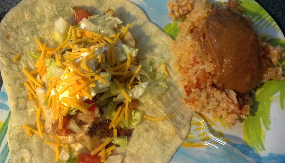 fish tacos with beans and rice